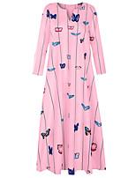 cheap -Women's Swing Dress Maxi long Dress White Yellow Blushing Pink Light Blue Long Sleeve Animal Print Spring Summer V Neck Casual 2021 S M L XL XXL 3XL 4XL 5XL