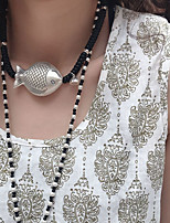 cheap -Women's Couple's Choker Necklace Pendant Necklace Braided Fish Flower Lotus Flower Shape Vintage Modern Trendy Hip Hop Cord Alloy Silver 62 cm Necklace Jewelry 1pc For Street Gift Masquerade Birthday