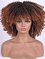 cheap -short curly afro wig with bangs for women 2 tone kinky curly hair wig for black women synthetic heat resistant full wigs