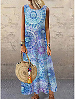 cheap -Women's Shift Dress Maxi long Dress Blue Sleeveless Floral Print Print Spring Summer Round Neck Casual 2021 S M L XL XXL 3XL