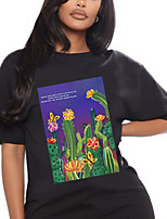 cheap -Women's T shirt Floral Plants Print Round Neck Tops 100% Cotton Basic Basic Top White Black