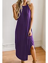 cheap -Women's Strap Dress Maxi long Dress Black Blue Purple Wine Sleeveless Solid Color Summer Halter Neck Elegant Cotton 2021 S M L XL XXL 3XL