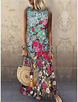 cheap -Women's Shift Dress Maxi long Dress Blushing Pink Sleeveless Floral Print Print Spring Summer Round Neck Casual 2021 S M L XL XXL 3XL