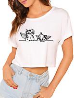 cheap -Women's Crop Tshirt Cat Animal Print Round Neck Tops 100% Cotton Basic Basic Top White
