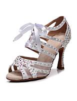 cheap -2021 Women's Latin Shoes  High Heel Crystal / Rhinestone High Heel White Black Khaki Ribbon Glitter Crystal Sequined Jeweled / Satin / Imitation Pearl  / Silk