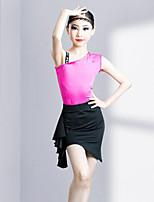 cheap -Latin Dance Skirts Printing Pleats Splicing Girls' Training Performance Sleeveless High Spandex Velvet