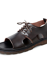 cheap -Men's Sandals Leather Shoes Flat Sandals Casual Beach Roman Shoes Daily Outdoor Walking Shoes Nappa Leather Cowhide Breathable Non-slipping Shock Absorbing Booties / Ankle Boots Black Brown Spring