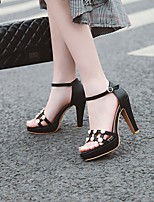 cheap -Women's Sandals Stiletto Heel Round Toe PU Synthetics Black