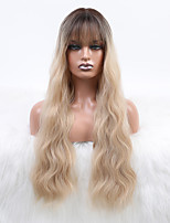 cheap -Synthetic Wig Water Wave Deep Parting Wig Light golden Synthetic Hair 24 inch Women's Adorable Ombre Hair Comfy Blonde