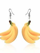 cheap -flat cute fruit yellow banana dangle earrings for women kids girls, fashion acrylic banana hook earrings