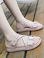 cheap -Girls' Sandals Comfort Flower Girl Shoes Princess Shoes PU Little Kids(4-7ys) Daily Home Walking Shoes White Pink Spring Summer