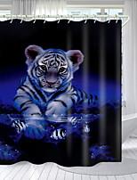 cheap -Cute Little Tiger Digital Printing Shower Curtain Shower Curtains Hooks Modern Polyester New Design