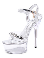 cheap -Women's Sandals Stiletto Heel Round Toe PU Rhinestone Solid Colored Gold Silver