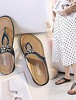 cheap -Women's Slippers & Flip-Flops Flat Heel Open Toe Rubber Rhinestone Sequin Solid Colored Black Gold