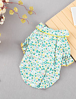 cheap -Dog Cat Shirt / T-Shirt Flower Basic Adorable Cute Casual / Daily Dog Clothes Puppy Clothes Dog Outfits Breathable Blue Pink Green Costume for Girl and Boy Dog Cotton S M L XL XXL