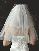 cheap -Three-tier Cute Wedding Veil Shoulder Veils with Appliques / Trim 23.62 in (60cm) Lace / Tulle