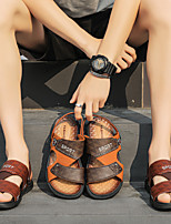 cheap -Men's Sandals Casual Beach Daily Walking Shoes PU Breathable Non-slipping Wear Proof Yellow Brown Summer