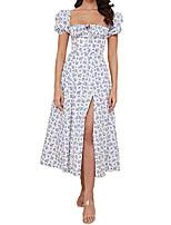 cheap -floral print puff sleeve high split maxi dress cute sexy long boho spring dress for women 2021 white blue