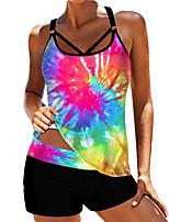 cheap -Women's Tankini Swimwear Quick Dry Sleeveless 2 Piece - Swimming Surfing Water Sports Tie Dye Summer
