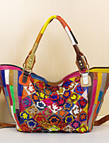 cheap -fashion new leather handbags cowhide colorful flowers hit color personality big bags handmade trendy bags messenger casual women's bags