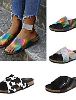cheap -Women's Sandals Boho Bohemia Beach Flat Heel Round Toe Rubber Color Block Clear White Black