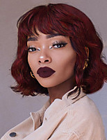 cheap -Synthetic Wigs Short Bob Wigs With Bangs for Black Women Wavy Wigs Shoulder Length Red/Pink/Blonde Cosplay Wigs High Temperature