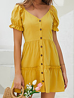 cheap -Women's Sundress Short Mini Dress Yellow Short Sleeve Solid Color Ruched Summer V Neck Casual Cotton 2021 M L XL XXL