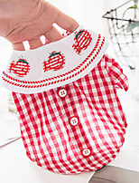 cheap -Dog Cat Shirt / T-Shirt Plaid Basic Adorable Cute Casual / Daily Dog Clothes Puppy Clothes Dog Outfits Breathable Red Blue Costume for Girl and Boy Dog Cotton Fabric XS S M L XL