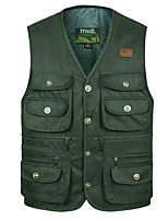 cheap -Men's Hiking Vest / Gilet Fishing Vest Sleeveless Vest / Gilet Jacket Top Outdoor Quick Dry Lightweight Breathable Sweat wicking Autumn / Fall Spring Summer Army green button version 517 Coffee