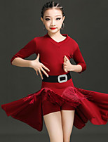 cheap -Latin Dance Dress Pleats Tassel Solid Girls' Training Performance Half Sleeve High Spandex