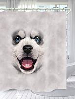 cheap -Little White Dog Digital Printing Shower Curtain Shower Curtains Hooks Modern Polyester New Design
