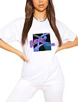 cheap -Women's T shirt Graphic Letter Print Round Neck Tops 100% Cotton Basic Basic Top White Black