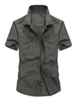 cheap -Men's Hiking Jacket Hiking Shirt / Button Down Shirts Short Sleeve Shirt Coat Top Outdoor Quick Dry Lightweight Breathable Sweat wicking Autumn / Fall Spring Summer Military color Blue khaki Hunting