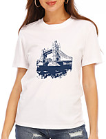 cheap -Women's T shirt Graphic Scenery Print Round Neck Tops 100% Cotton Basic Basic Top White