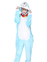 cheap -Adults' Kigurumi Pajamas Cat Onesie Pajamas Flannelette Blue Cosplay For Men and Women Animal Sleepwear Cartoon Festival / Holiday Costumes