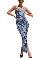 preiswerte -Frauen sexy rückenfreie Neckholder ärmellose Blumendruck Split Maxi-Kleid (blau, l)