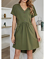 cheap -Women's A Line Dress Knee Length Dress Army Green Short Sleeve Solid Color Patchwork Fall Summer V Neck Elegant Casual 2021 S M L XL
