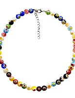 cheap -Women's Choker Necklace Beaded Necklace Beads Ball Colorful Cute Boho Acrylic Alloy Picture color 380 cm Necklace Jewelry 1pc For Street Gift Birthday Party Beach Festival / Crystal Necklace
