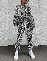 cheap -Women's Streetwear Cinched Print Going out Casual / Daily Two Piece Set Sweatshirt Tracksuit Pant Loungewear Drawstring Print Tops