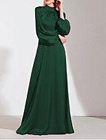 cheap -A-Line Minimalist Elegant Wedding Guest Prom Dress High Neck Long Sleeve Floor Length Imitation Silk with Sleek 2021