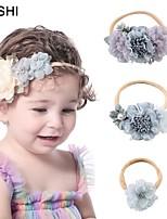 cheap -cross-border fashion children stitching fabric with pearl flower headband super soft belt stretch baby nylon thin headband