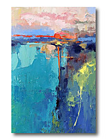 cheap -Stretched Oil Painting Hand Painted Canvas Abstract Comtemporary Modern High Quality Blue Wall Art Deco Ready to Hang