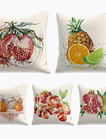 cheap -Fruit Pomegranate Cushion Cover 5PC Linen Soft Throw Pillow Cover Cushion Case Pillowcase for Bedroom 45 x 45 cm (18 x 18 Inch) Machine Washable Double Side  Outdoor Cushion for Sofa Couch Bed Chair