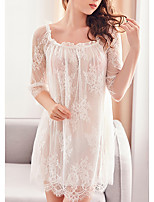 cheap -Women's Mesh Suits Nightwear Solid Colored White / Black / Blushing Pink M L