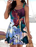 baratos -Mulheres Vestido A Line Mini vestido curto Vermelho Sem Manga Floral Estampa Colorida Estampado Primavera Verão Decote Canoa Casual 2021 S M L XL XXL 3XL