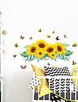 cheap -Wall Sticker Sunflower Leaf Butterfly Flying Bedroom Wall Beautification Decoration Removes Sticker