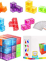 cheap -YongJun Magnetic 3D Puzzle Cubes Transparent Magnetic Cube Consists of 7 Magnetic Building Blocks with 54 Guide Cards, 108 Splicing Challenges of Different Levels for Killing Time and Relieving Stress