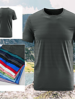 cheap -Men's T shirt Hiking Tee shirt Short Sleeve Crew Neck Tee Tshirt Top Outdoor Quick Dry Lightweight Breathable Stretchy Autumn / Fall Spring Summer POLY Solid Color White Black Red Fishing Climbing