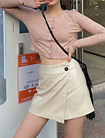 cheap -Women's Homecoming Date Streetwear Preppy Skirts Solid Colored Layered Split Beige