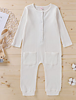 cheap -Kids Girls' Overall & Jumpsuit Solid Colored Patchwork White Active 2-6 Years